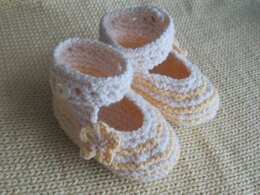Cream and Yellow Knitted Summer Shoes for Baby Girl
