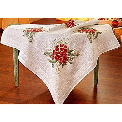 Deco-Line Candle and Poinsettia 80 x 80cm Embroidery Tablecloth Kit - Multi