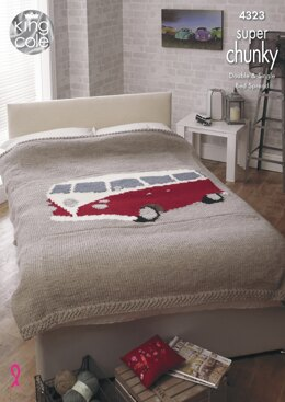 Camper Van Bed Throws in King Cole Super Chunky - 4323 - Downloadable PDF