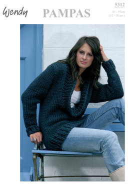 Cowl Neck Sweater in Wendy Pampas Mega Chunky - 5312