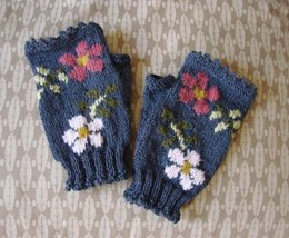 Dog Rose fingerless mitts