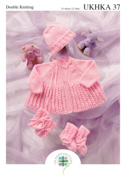 Matinee Coat, Bonnet, Bootees and Mittens in King Cole Baby DK - UKHKA37pdf - Downloadable PDF