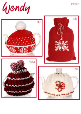 Tea Cosy and Hot Water Bottle Cover in Wendy DK and 4 Ply - 5597