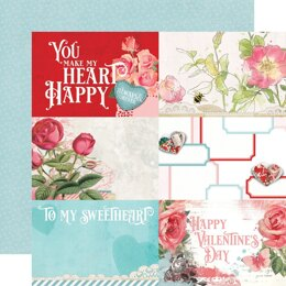 """Simple Stories Simple Vintage My Valentine Double-Sided Cardstock 12""""X12"""" 25/Pkg - 4""""X6"""" Elements"""