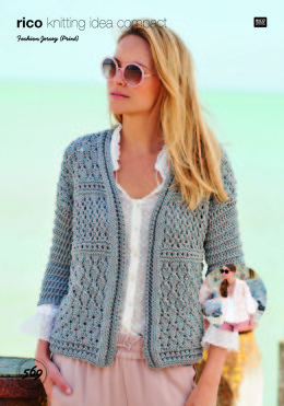 Cardigan and Waistcoat in Rico Fashion Jersey Print - 569 - Leaflet