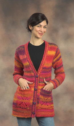 Woman's Long Cardigan in Plymouth Yarn Bazinga - 2105 - Downloadable PDF