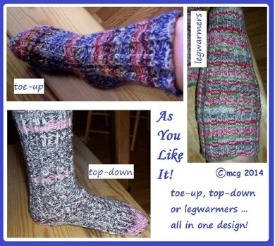 As You Like It -- toe-up, top-down and legwarmers all in one