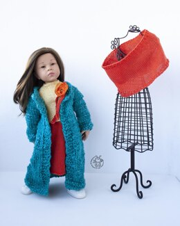 Outfit Orange and Turquoise for 18in doll  knitting flat