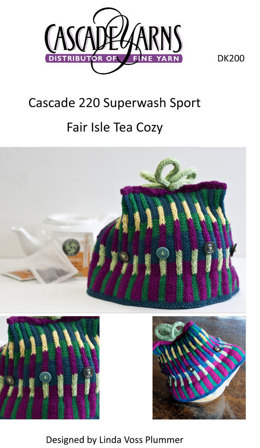 Fair Isle Tea Cozy in Cascade 220 Superwash Sport - DK200