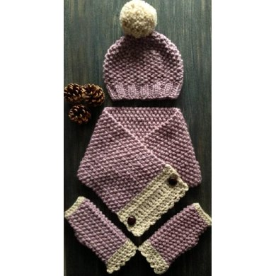 Chunky Moss Stitch Hat, Scarf and Gloves