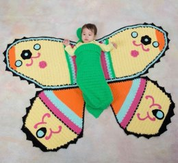 Butterfly Baby Blanket & Cocoon in Red Heart Anne Geddes Baby - LW3572