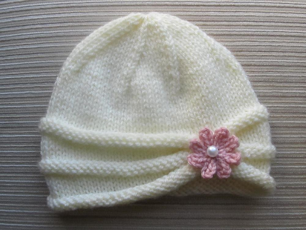 Rolled Brim Hat With A Flower For A Baby 6 9 Months And Toddler 2