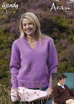 V-Neck Raglan Sweater in Wendy Aran with Wool 400g - 5199