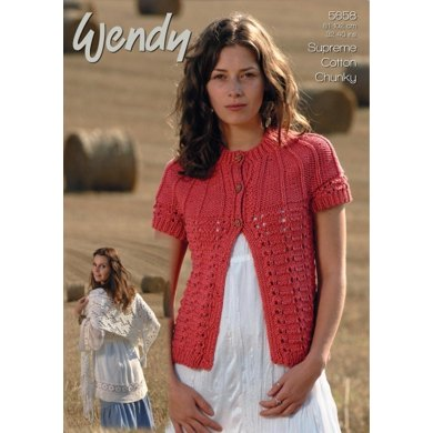 Cardigan and Lacy Shawl in Wendy Cotton Chunky - 5658