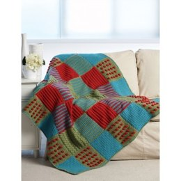 Textured Crochet Blocks Afghan in Bernat Super Value