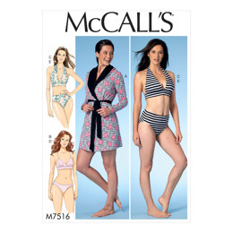 McCall's Misses' Robe with Hood, Belt, T-Back or Halter Bras, and Panties M7516 - Sewing Pattern