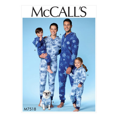 McCall's Men's/Misses'/Boys'/Girls'/Children's Hooded Jumpsuits and Dog Coat with Kangaroo Pocket M7518 - Sewing Pattern