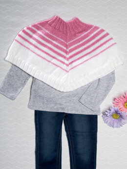 Striped Poncho in Premier Yarns Anti-Pilling Everyday Baby - Downloadable PDF