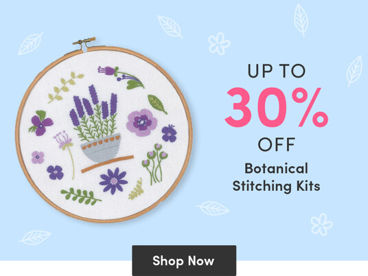 Up to 30 percent off botanical stitching kits!