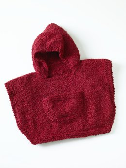 Hooded Baby Poncho in Lion Brand Homespun - 70358AD