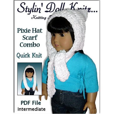 Pixie Hat, Scarf combo fits American Girl and 18 inch dolls. 106
