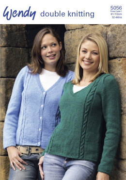 V Neck Sweater and Cardigan with Cable Panel in Wendy Merino DK - 5056
