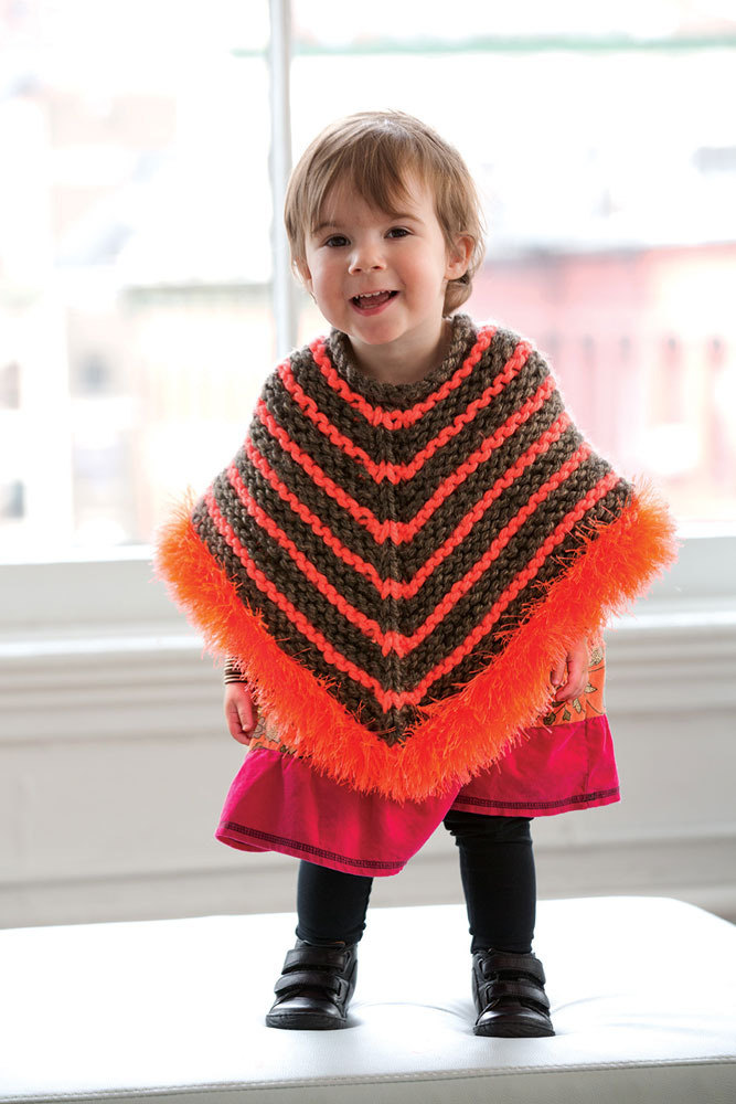 Striped Furry Poncho In Lion Brand Hometown Usa L32037