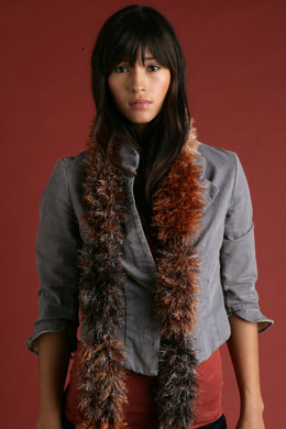 Knit Segment Scarf in Lion Brand Wool-Ease and fun fur - 50864AD