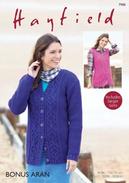 Cardigan and Waistcoat in Hayfield Bonus Aran - 7900