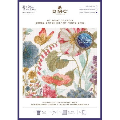 DMC Rainbow Seeds Flowers I Cross Stitch Kit - 22cm x 30cm