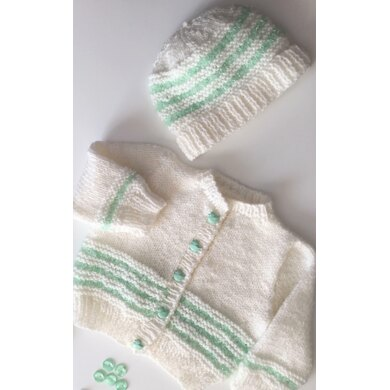 Baby cardigan with matching Beanie hat