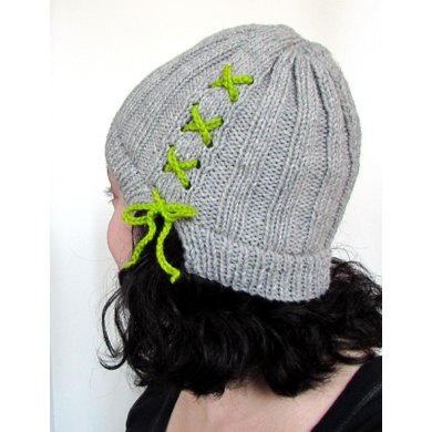 Lace Up Ribbed Beanie