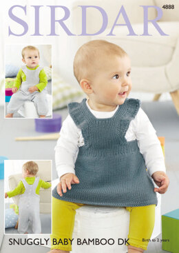 Pinafore Dress & Dungarees in Sirdar Snuggly Baby Bamboo DK - 4888 - Downloadable PDF