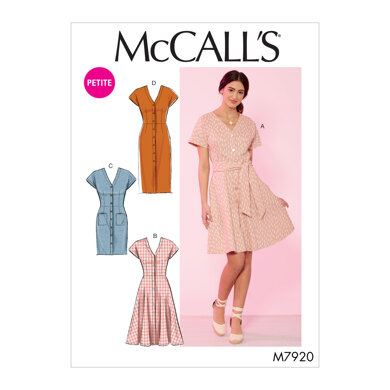 McCall's Misses'/Miss Petite Dresses and Belt M7920 - Sewing Pattern