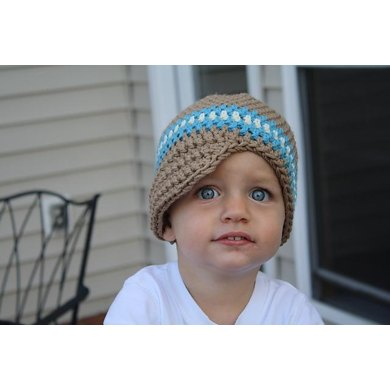 Newsboy Hat with Sky Blue and White Stripes