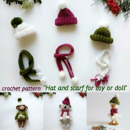 Hat and scarf for toy or doll