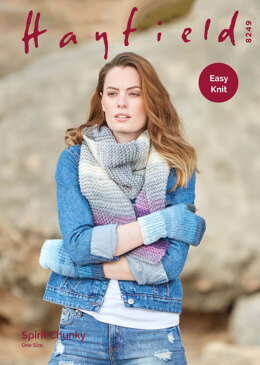 Wrist Warmers & Scarf in Hayfield Spirit Chunky - 8249 - Downloadable PDF