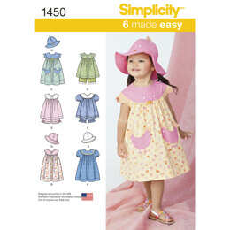 Simplicity Toddlers' Dress, Top, Panties and Hat 1450 - Paper Pattern, Size A (1/2-1-2-3-4)
