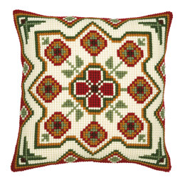 Vervaco Red/Cream Cushion Front 10 Chunky Cross Stitch Kit - 40cm x 40cm