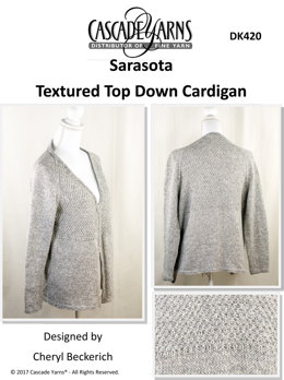 Textured Top Down Cardigan in Cascade Sarasota - DK420 - Downloadable PDF