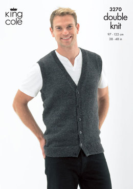Slipover and Waistcoat in King Cole Merino Blend DK - 3270