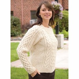 Saddle Shoulder Aran Pullover in Cascade Ecological Wool - A144