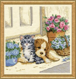 Design Works Kitten and Puppy Counted Cross Stitch Kit - 30.5 x 30.5cm