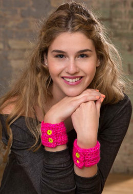 Buttoned Up Cuffs in Red Heart Reflective - LW4166EN - Downloadable PDF