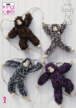 Luxury Fur Chimpanzees in King Cole Luxury Fur and Pricewise DK - 9125 - Downloadable PDF