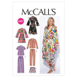 McCall's Misses' Robe, Belt, Tops, Shorts and Pants M6659 - Sewing Pattern