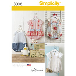 Simplicity Babies' Rompers, Sandals, and Stuffed Duck 8098 - Paper Pattern, Size A (XXS-XS-S-M-L)
