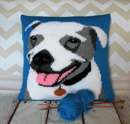 Staffie Pet Portrait Cushion Cover