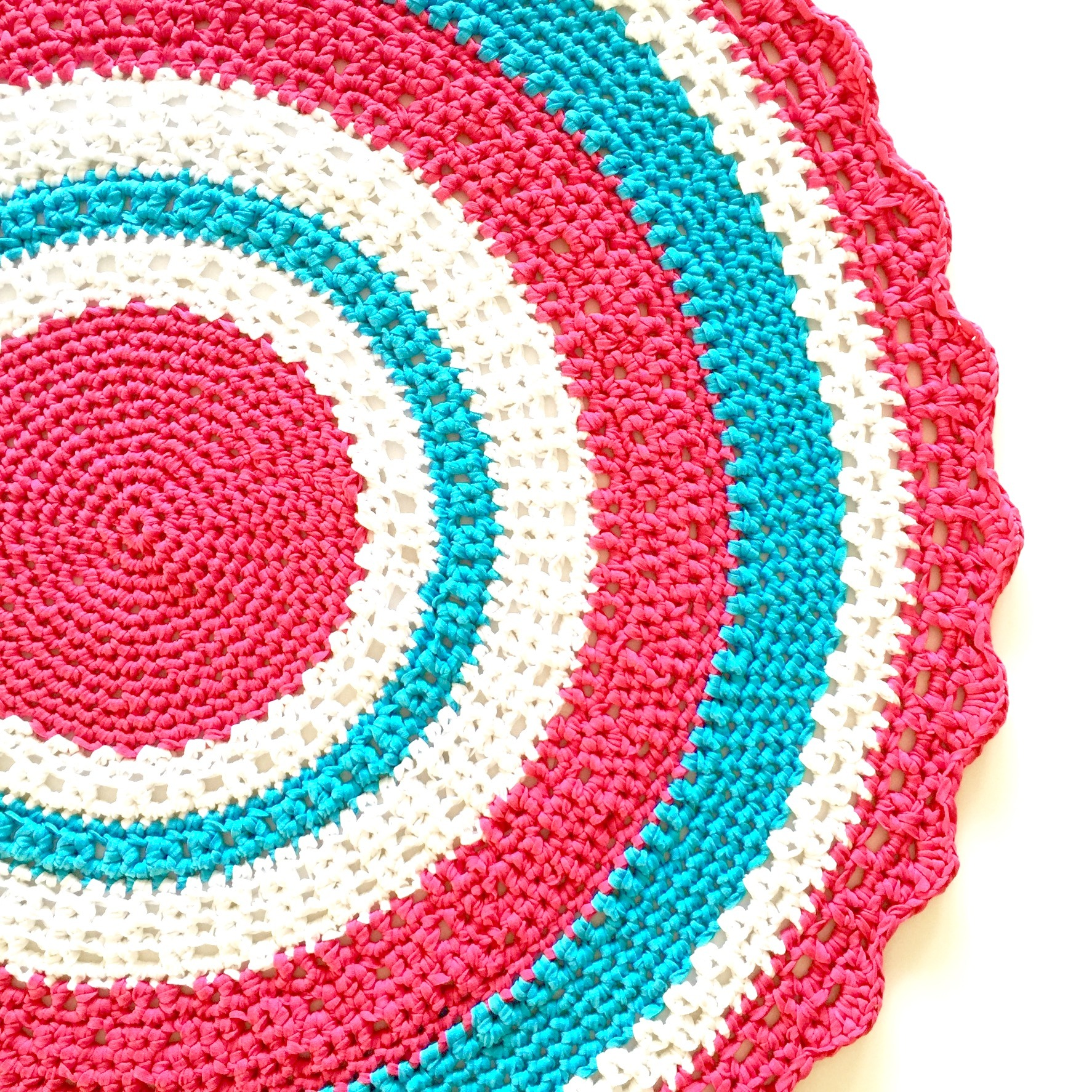 Xl Rag Rug: 'SWEET CAROUSEL' Crochet Floor Rug Crochet Project By