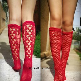 Red Summer socks with hearts